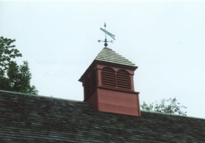 roof louvered cupola with copper saw weathervane