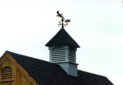 louvered cupola with copper eagle weathervane