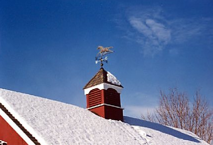 louvered cupola with horse weathervane