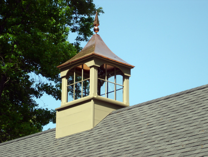 copper roof windowed cupola with copper finial