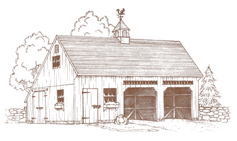 1-1/2 story saltbox barn
