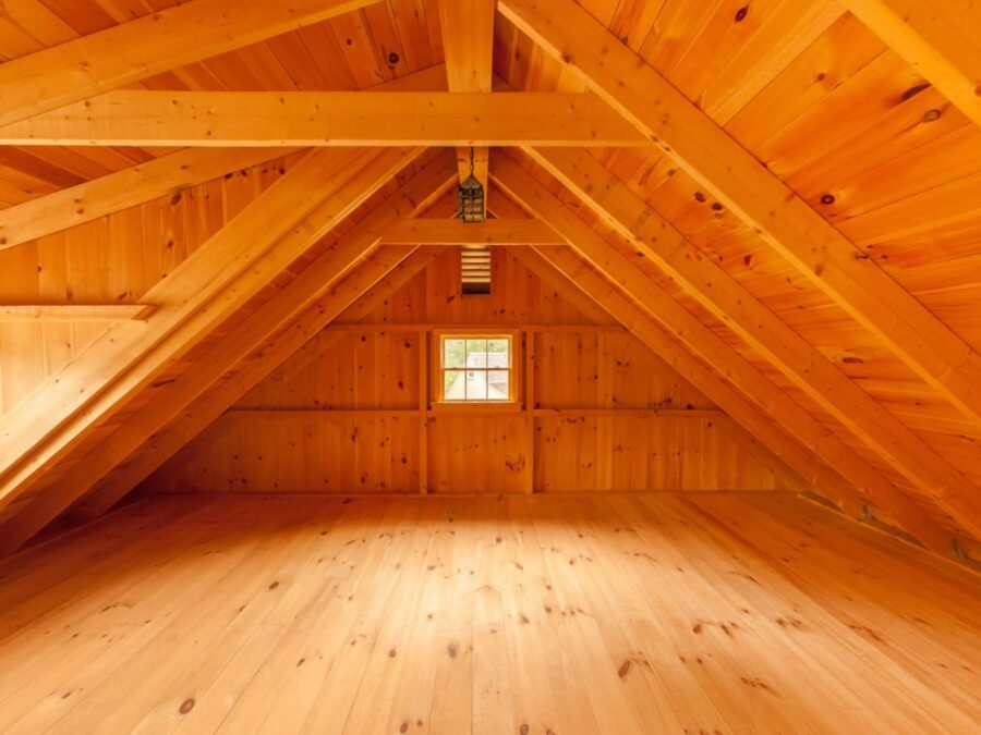 Interior Loft post and beam barn
