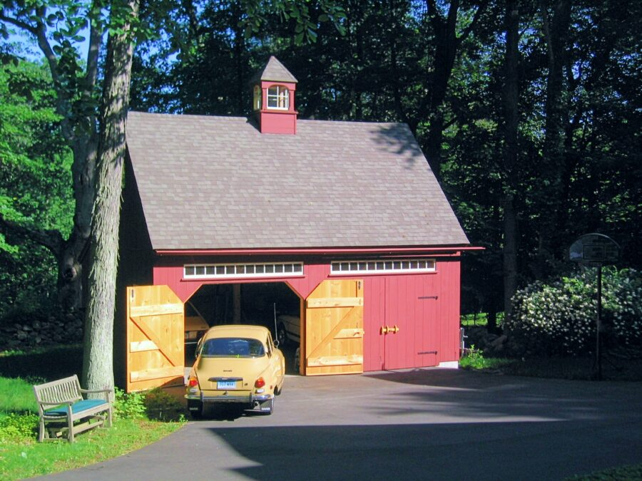 Red New England Style Garage
