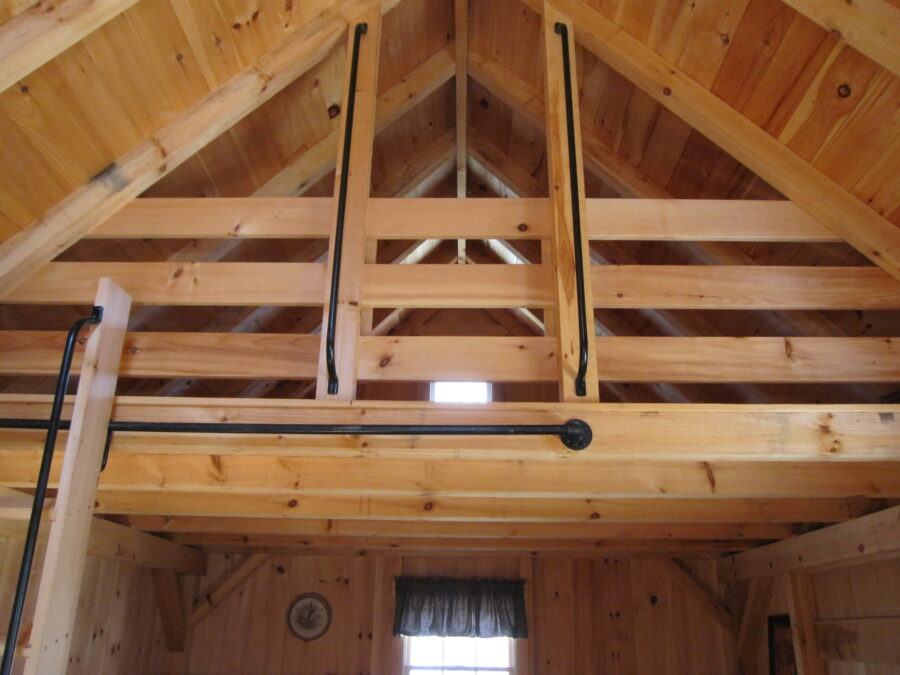 Post and beam cabin loft ladder