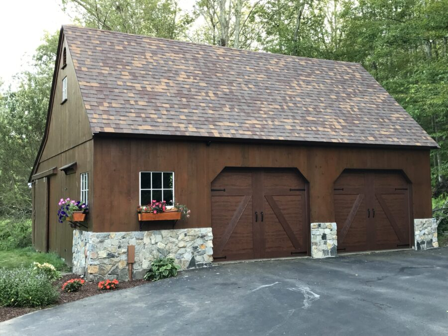 Brown Wood Barn Garage with Stone facade
