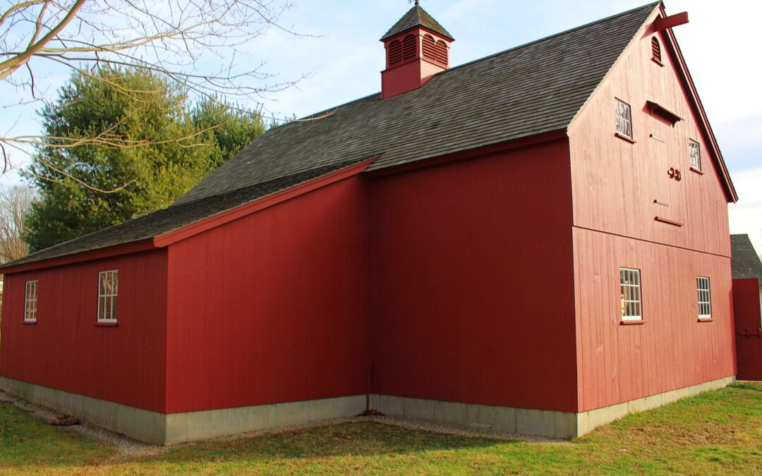Large Red Barn with Attached Lean-to