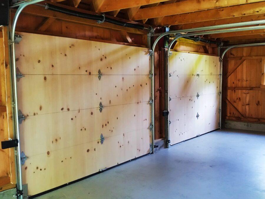 2 Pine Overhead doors, view from inside
