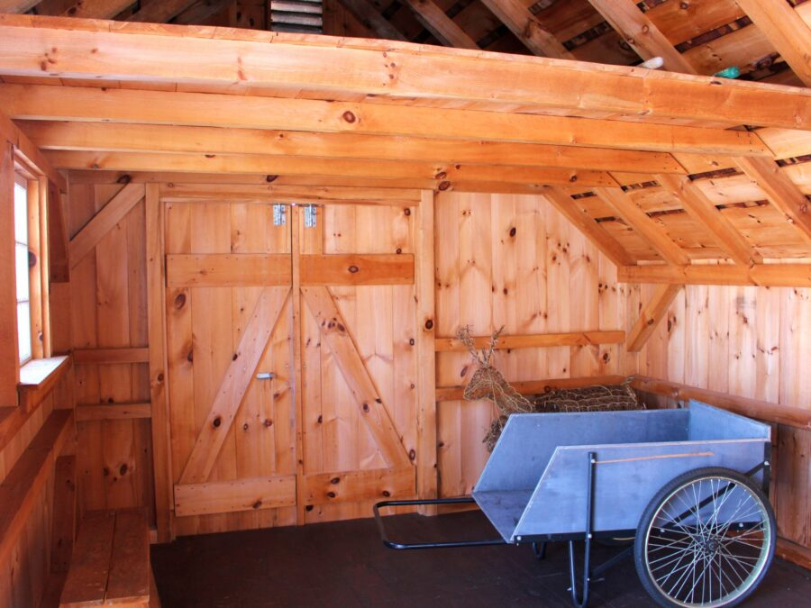 Inside view of a Saltbox Garden Shed with Loft