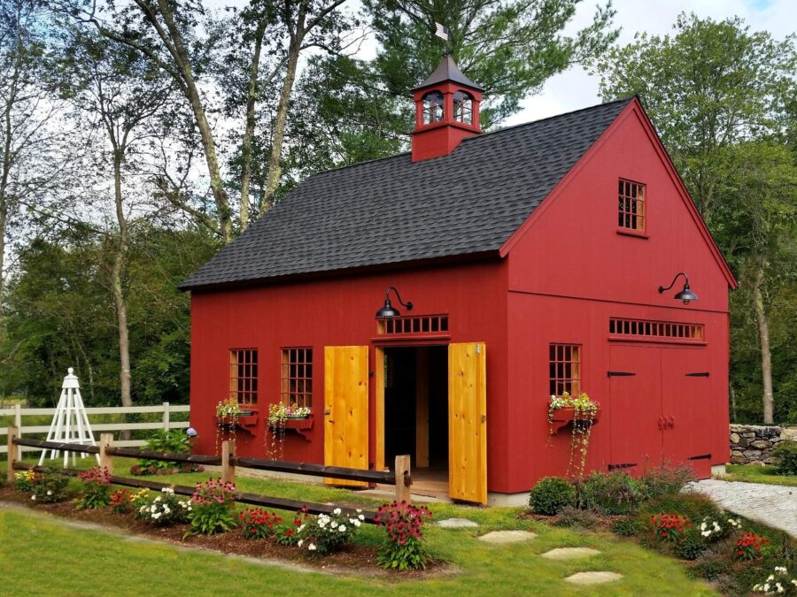 Red Barn in a Garden with Doors Open