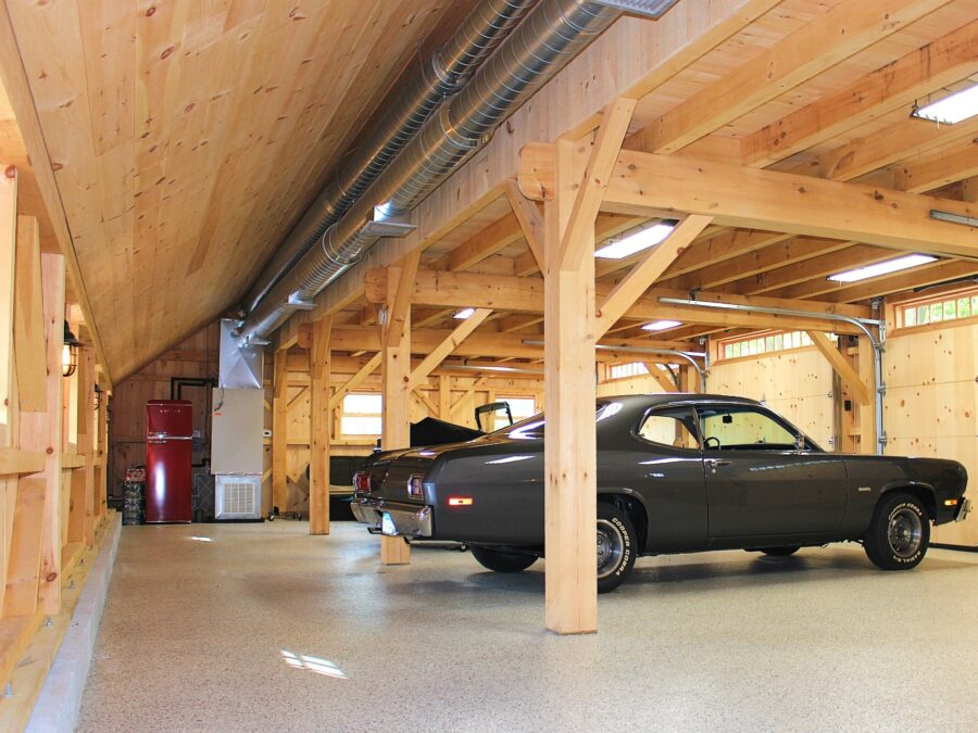 Classic car inside a Post and Beam Saltbox Garage