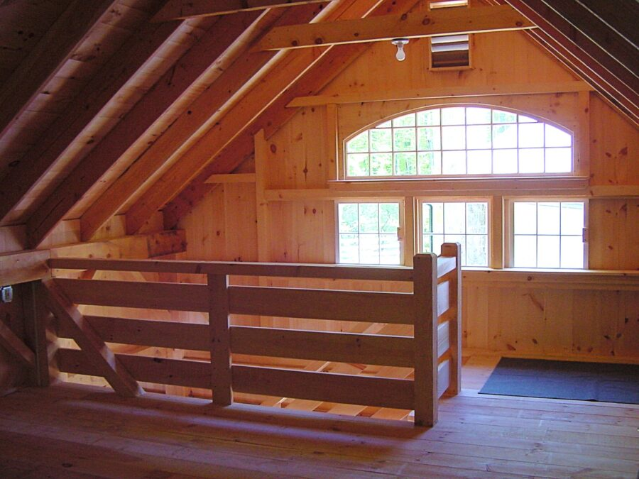 View from the One & A Half Story Saltbox Loft of the Bowtop Window setup and Top of the Stairs